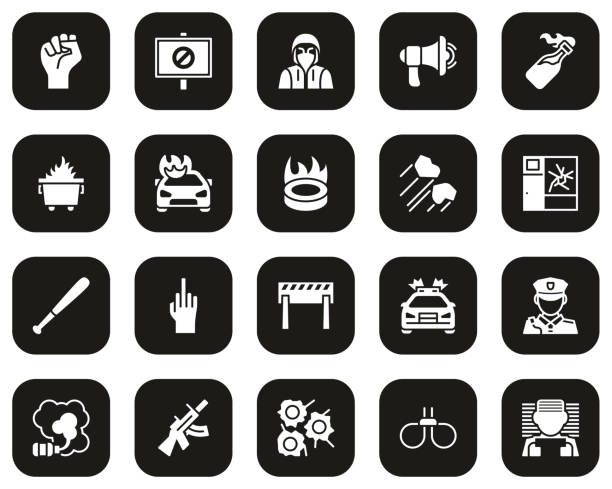 Violent Protest Or Demonstration Icons White On Black Set Big This image is a vector illustration and can be scaled to any size without loss of resolution. dumpster fire stock illustrations