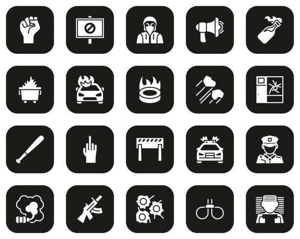 暴力抗議或示威圖示白色在黑色設置大 - dumpster fire 幅插畫檔、美工圖案、卡通及圖標