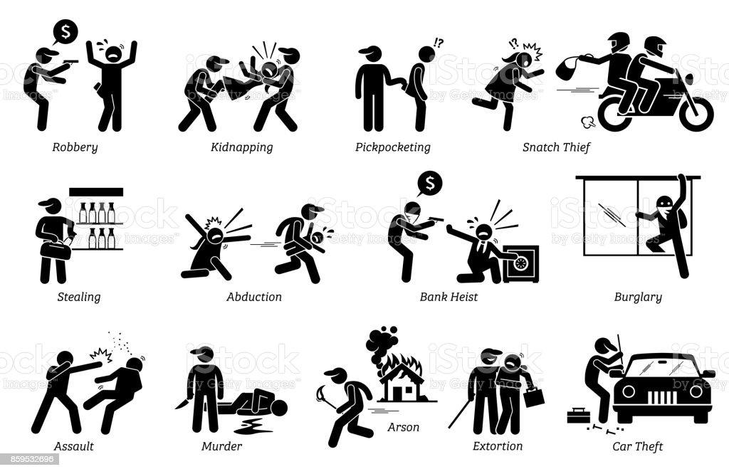 Violent Violence Crime and Criminal. vector art illustration