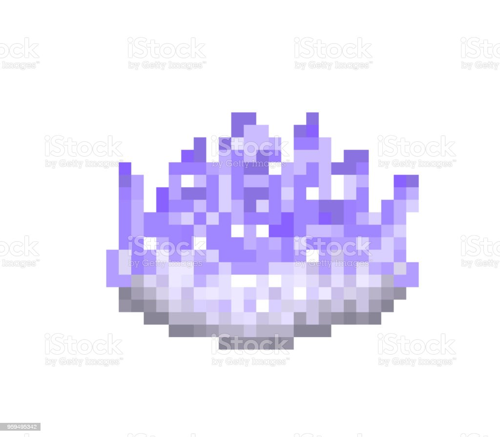 Violet amethyst crystal, pixel art icon isolated on white background. Symbol of harmony. Purple quartz, semiprecious stone. Magical object. 8 bit slot machine pictogram. Retro video game graphics. vector art illustration
