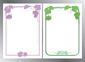 violet and green - frames with grape clusters on white backgrounds - vector cards