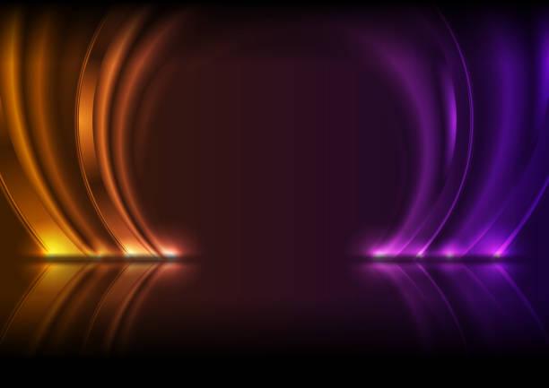 stockillustraties, clipart, cartoons en iconen met violet en oranje neon gloeiende cirkelbogen technologie moderne achtergrond - boog architectonisch element