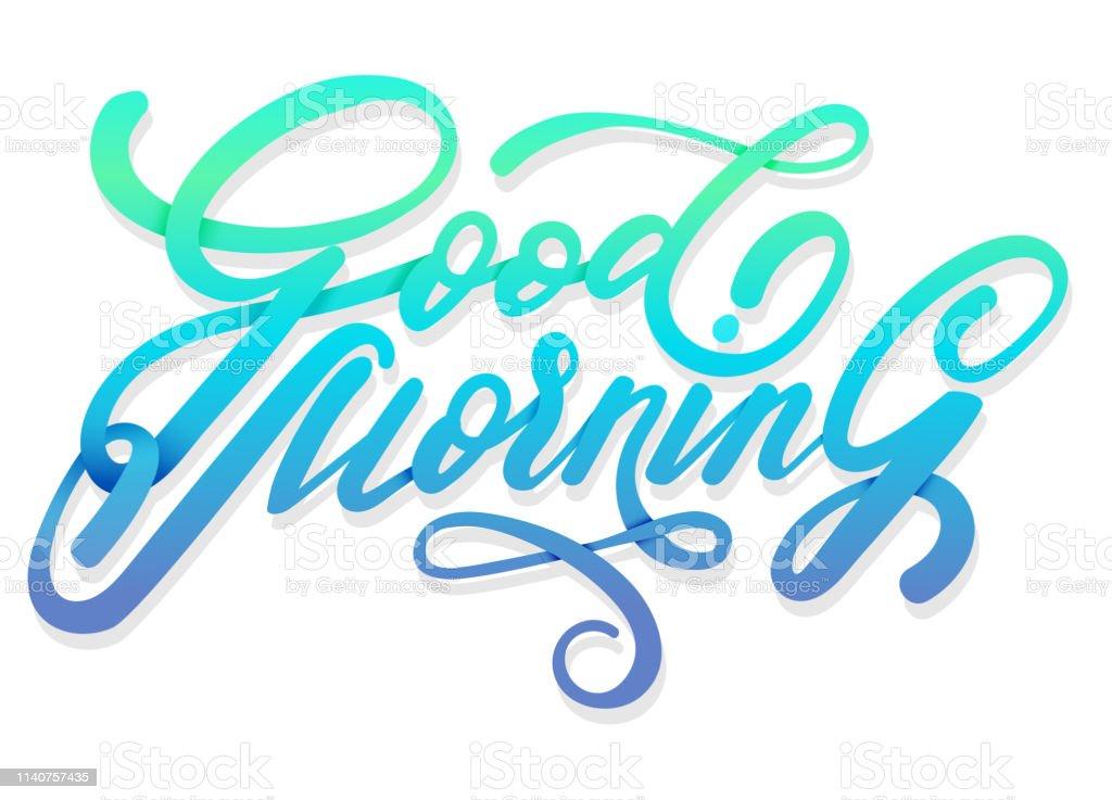 Violett Blau Und Grün Guten Morgen Vektor Handgeschriebenen