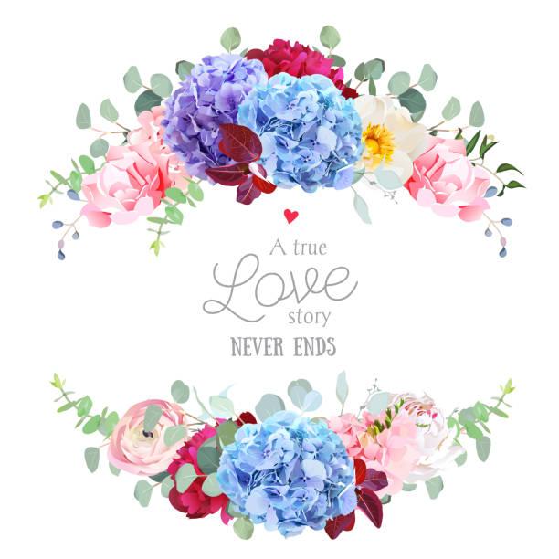 violett, blau und lila hortensie, rosa rosen, ranunkeln, carnat - pastellgelb stock-grafiken, -clipart, -cartoons und -symbole