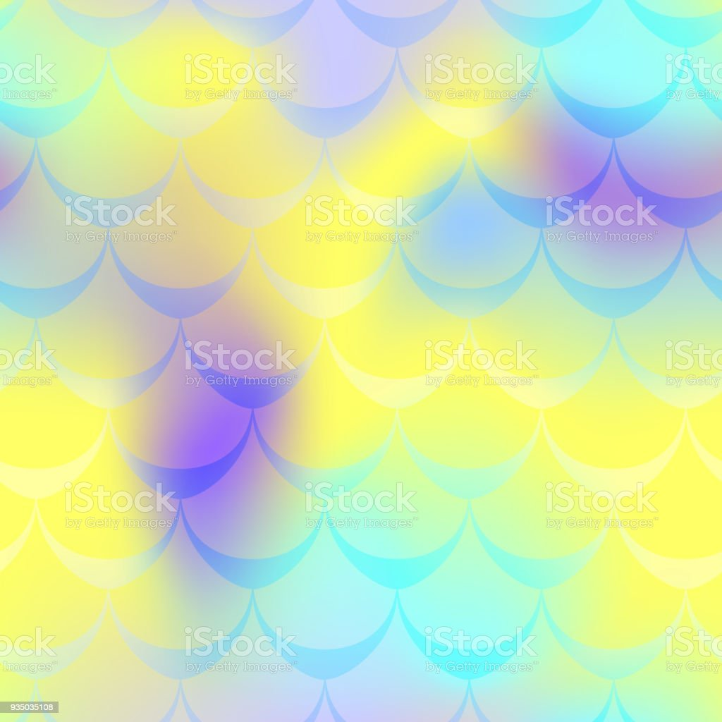 Violet blue yellow mermaid scale vector background. Candy iridescent background. Fish scale pattern. vector art illustration