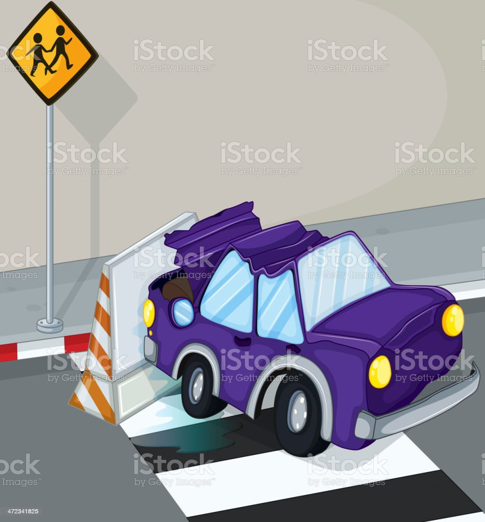 violet car having an accident at the road royalty-free violet car having an accident at the road stock vector art & more images of car