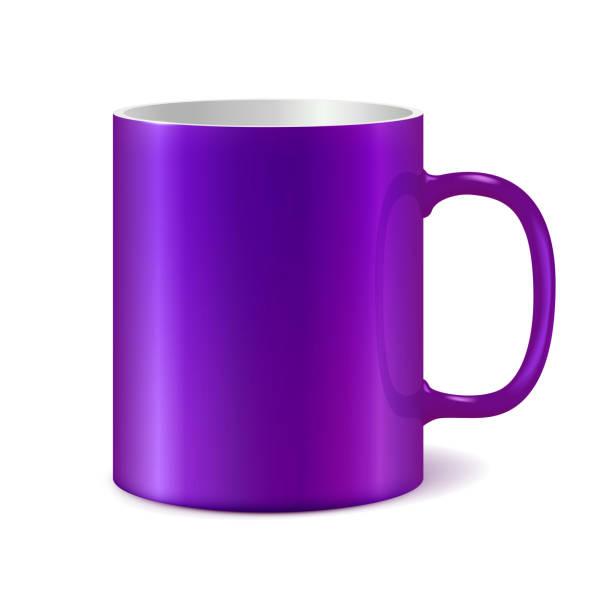 Violett Keramik Becher für den Druck Firmenlogo. Dunkle Farbe – Vektorgrafik