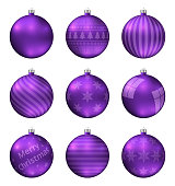 Violet christmas balls isolated on white background. Photorealistic high quality vector set of christmas baubles. Different pattern.