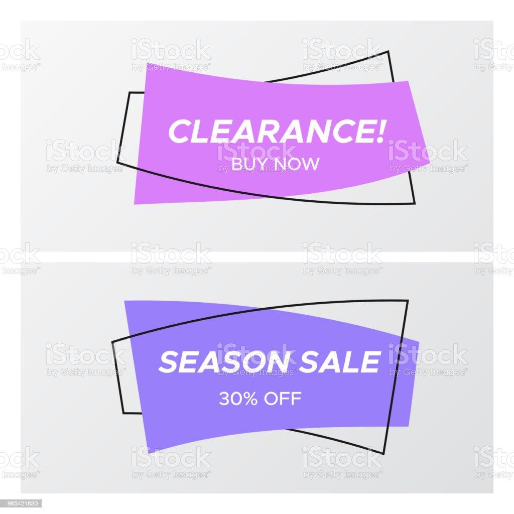 바이올렛 색상 평면 곡선된 사각형 스티커 판매 - 로열티 프리 가격 벡터 아트