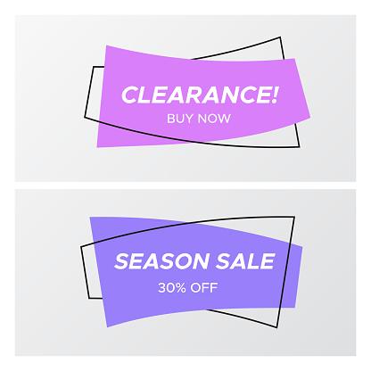 바이올렛 색상 평면 곡선된 사각형 스티커 판매 가격에 대한 스톡 벡터 아트 및 기타 이미지