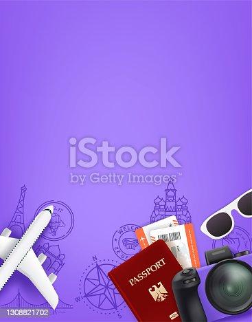 istock Violet concept with different travel staff. Passport, digital camera, tickets, sunglasses 1308821702