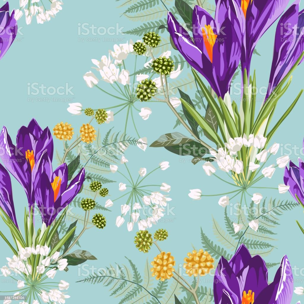 ハーブブーケシームレスパターンとバイオレットクロッカスの花水彩画
