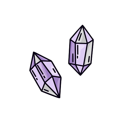 Violet crystal on white background. Isolated doodle illustration