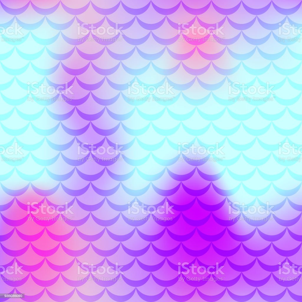 Violet cyan pink mermaid scale vector background. Neon iridescent background. Fish scale pattern. vector art illustration