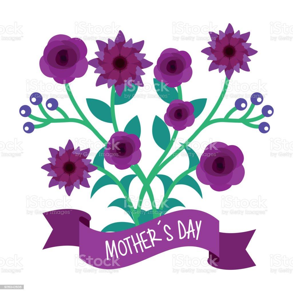Mor çiçekler Ve Dalları Doğal Anneler Günü Afiş Stok Vektör Sanatı