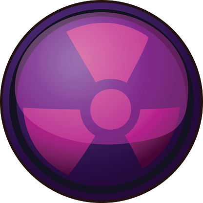 Violet Glossy Round Nuclear Sign.
