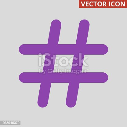 Violet hashtag icon on grey background. Vector illustration