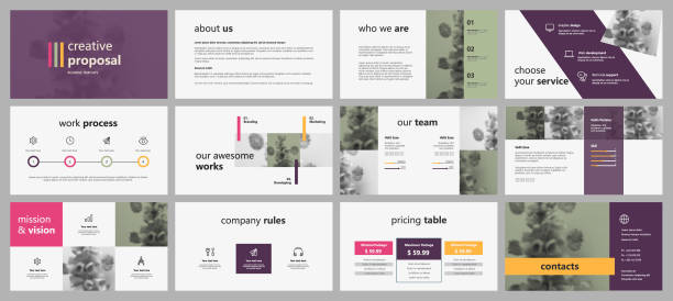 Violet infographic elements for presentations. Violet infographic elements for presentations. Easy Use in creative flyer and leaflet, corporate report, marketing, advertising, presentation, banner.simple modern style presentation stock illustrations