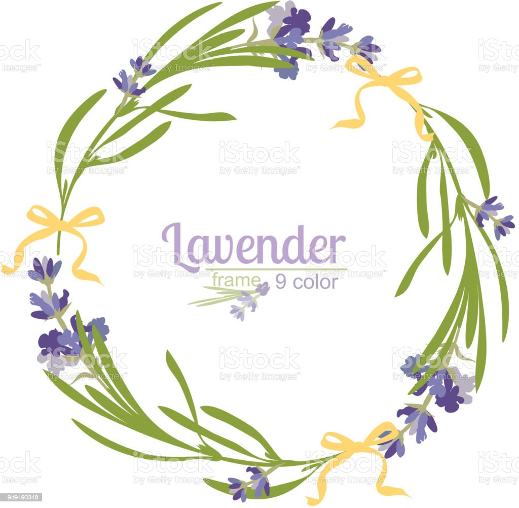 Violet Lavender Beautiful Floral Frames Template In Watercolor Style
