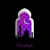 Violet Mosque Window Ramadan Kareem Greeting card with arabic arabesque pattern on Black background. Crescent Moon Ramadan. Symbol of Islam. Holy month of muslim. Applique Origami Vector illustration.