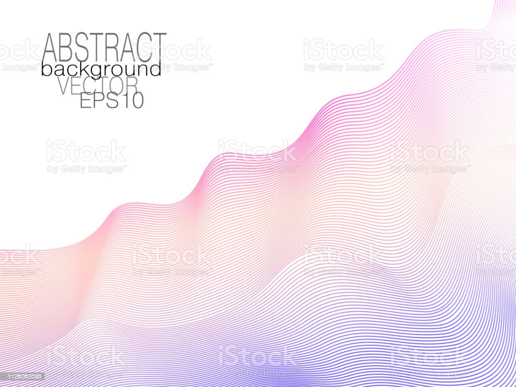 Violet, orange, magenta ripple diagonal waves. Soft creative gradient. Abstract colored undulating lines. Art line pattern. White background. Vector tech template. Elegant layout for modern design. EPS10 illustration