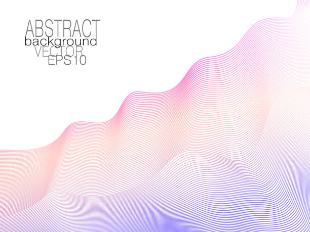 Violet, orange, magenta ripple diagonal waves. Soft creative gradient. Abstract colored undulating lines. Art line pattern. White background. Vector tech template. Elegant layout for modern design. EPS10 illustration Violet, orange, magenta ripple diagonal waves. Soft creative gradient. Abstract colored undulating lines. Art line pattern. White background. Vector tech template. Elegant layout for modern design. EPS10 illustration contour line stock illustrations