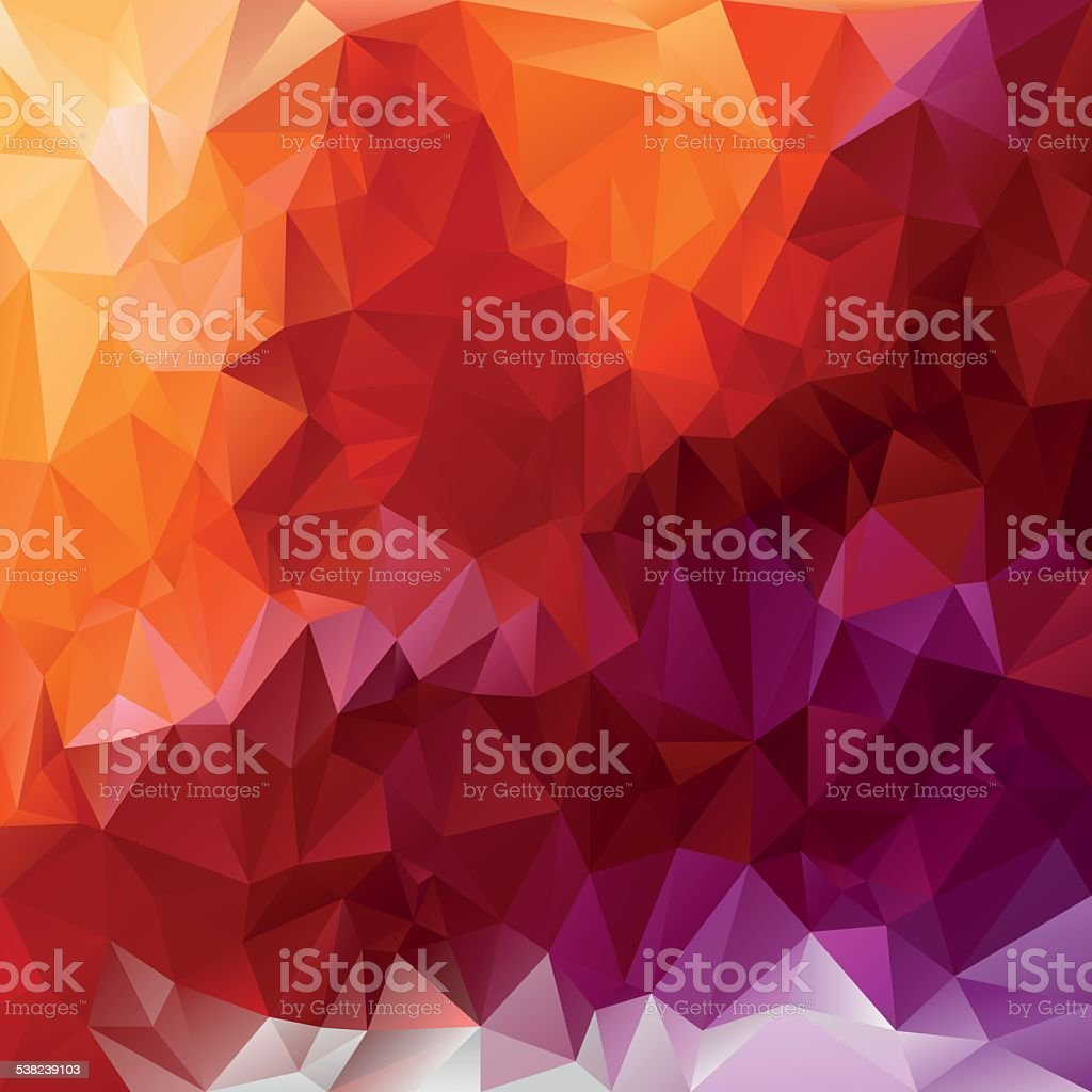 violet orange red polygonal triangular pattern background vector art illustration