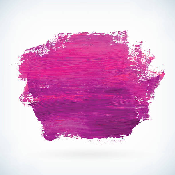 stockillustraties, clipart, cartoons en iconen met violet paint artistic dry brush stroke vector background - acrylverf
