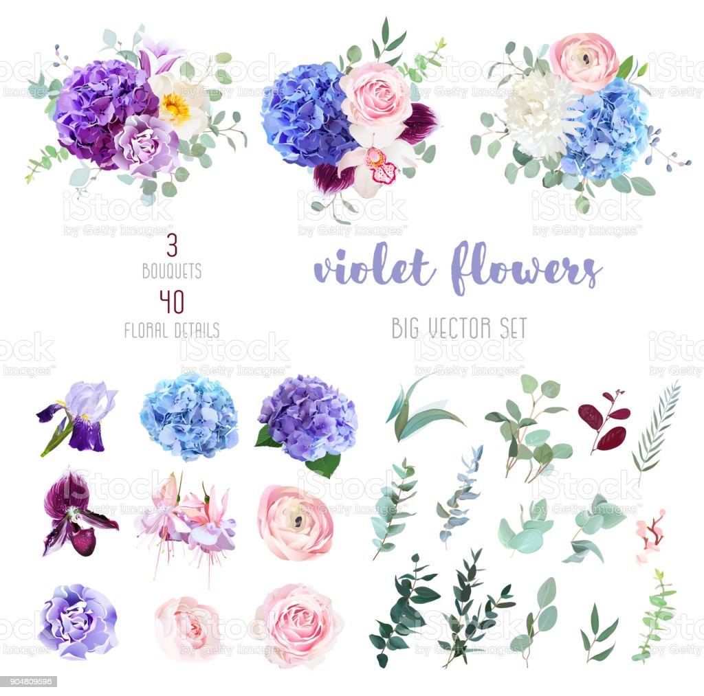 紫、紫と青の花と緑の大きなベクター セット ベクターアートイラスト
