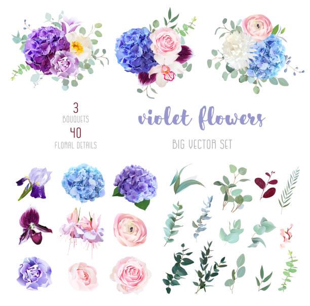 紫、紫、藍花和綠葉大向量集 - 淺粉色 幅插畫檔、美工圖案、卡通及圖標
