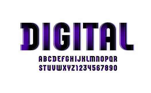 Violet technical font, digital alphabet, letters (A, B, C, D, E, F, G, H, I, J, K, L, M, N, O, P, Q, R, S, T, U, V, W, X, Y, Z) and numbers (0, 1, 2, 3, 4, 5, 6, 7, 8, 9), vector illustration 10EPS