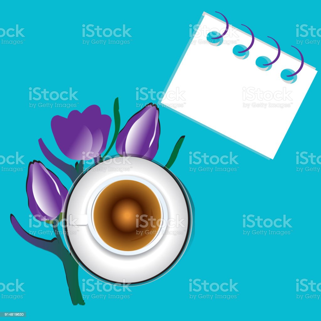 Violet Tulips Bouquet And Coffee Cup Over Bright Table Top View With ...