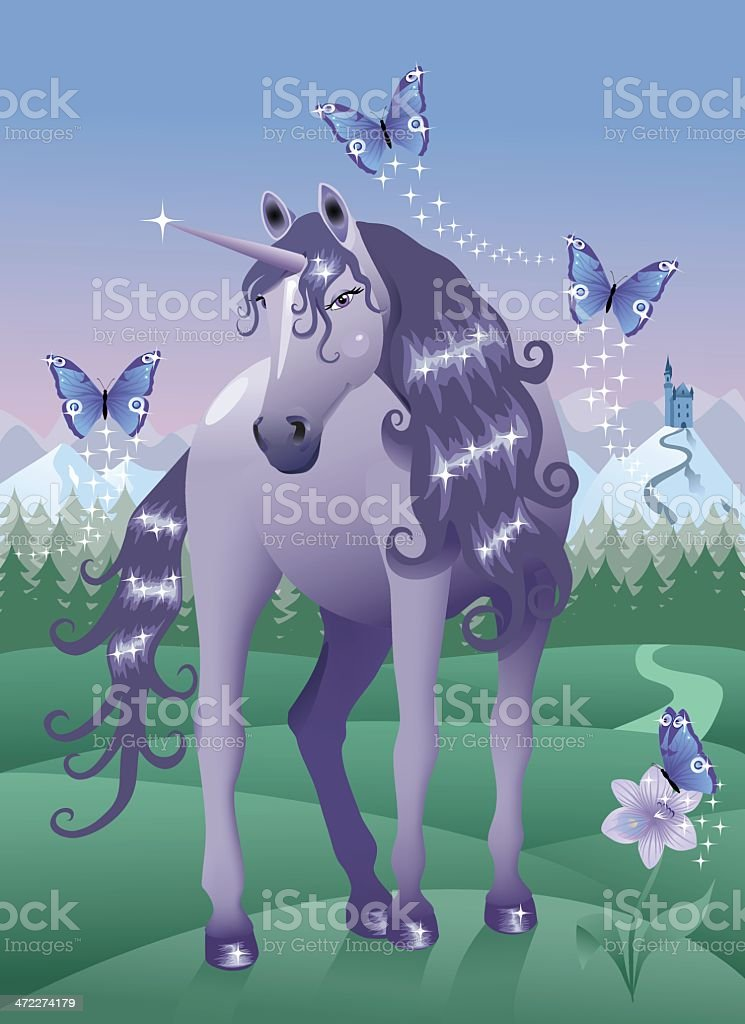 Violet Unicorn. royalty-free stock vector art