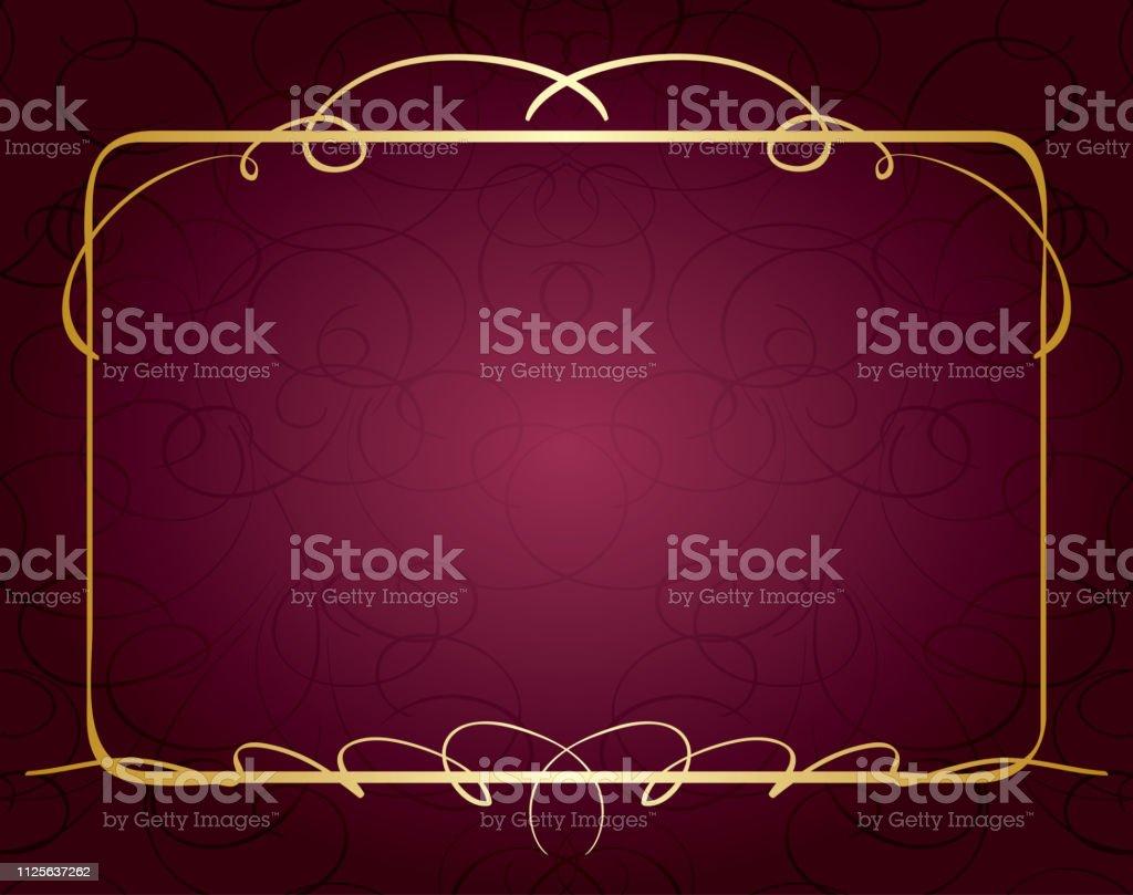 violet vector background with beautiful golden frame векторная иллюстрация