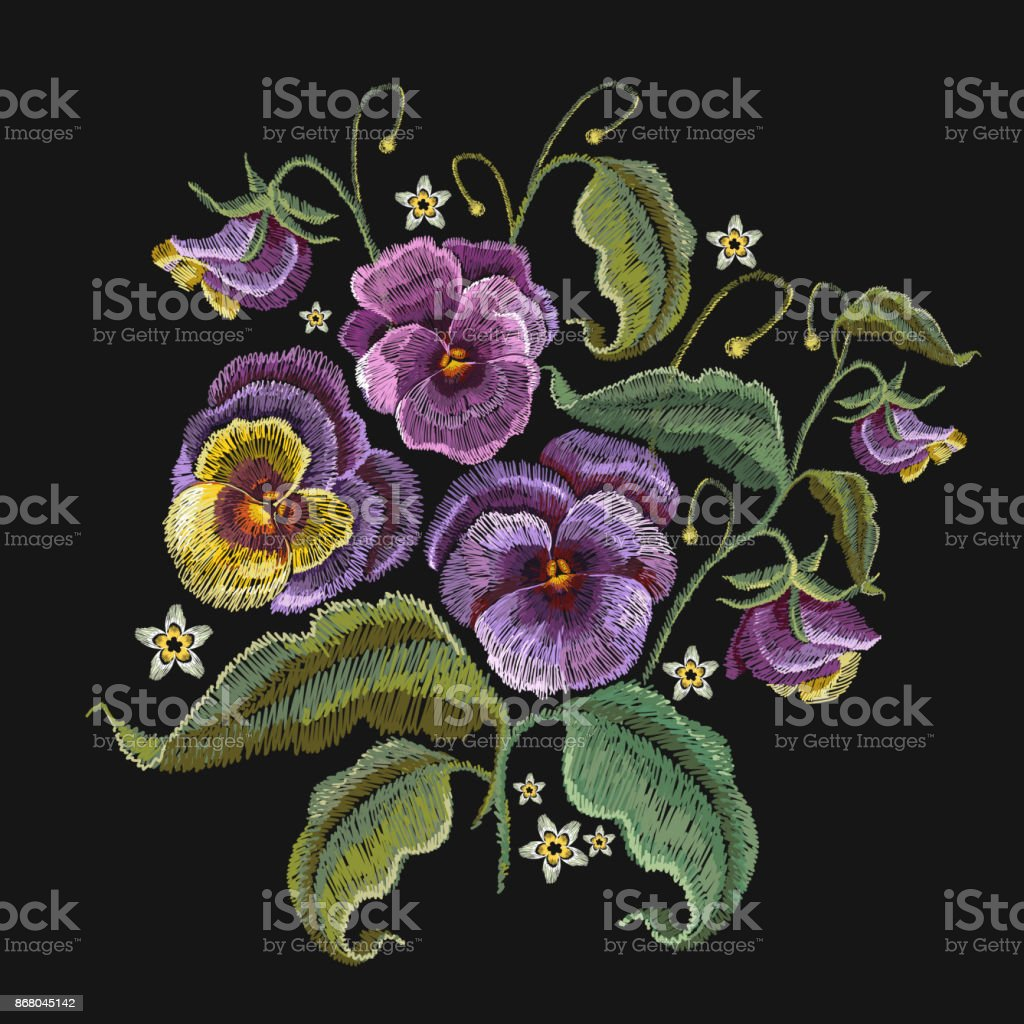 Violets flower embroidery. Fashionable design of clothes, t-shirt design. Classical embroidery beautiful flowers of violet on black background