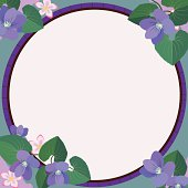A vector design frame featuring violets.