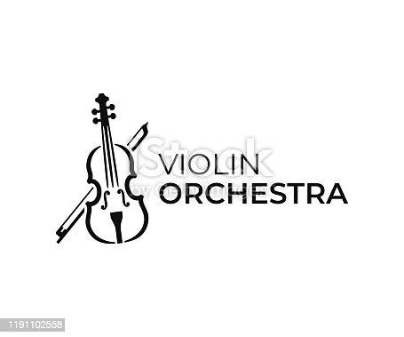 istock Violin and bow design. Fiddle vector design. Music instrument illustration 1191102558