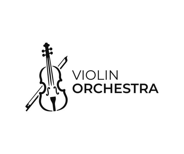 bildbanksillustrationer, clip art samt tecknat material och ikoner med violin och båge design. fiol vektor design. illustration av musikinstrument - violin