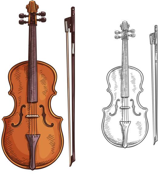 bildbanksillustrationer, clip art samt tecknat material och ikoner med violin och båge vektor affisch - violin