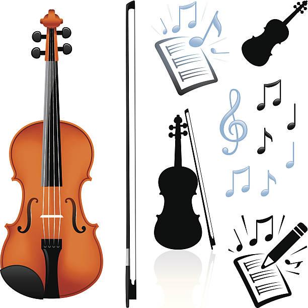 stockillustraties, clipart, cartoons en iconen met violin and music - viool