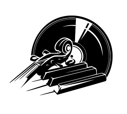 violin and piano instruments classical vinyl record black and white vector design