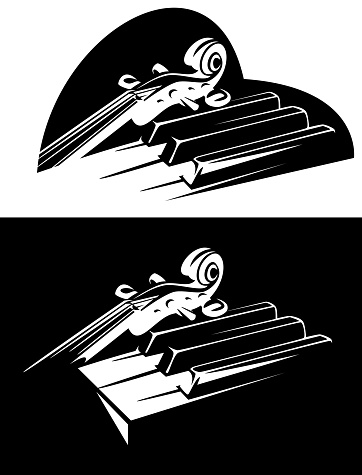 violin and piano musical instruments in heart shape outline black and white vector design