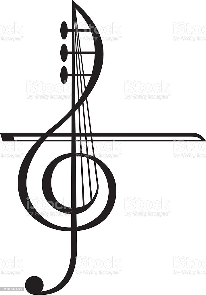 violin and treble clef stock vector art more images of arts rh istockphoto com treble clef vector image treble clef vector illustrator