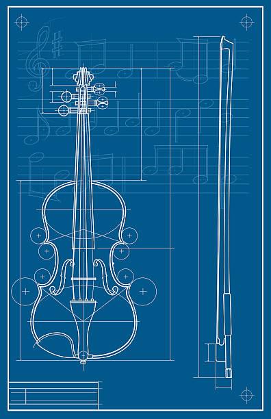stockillustraties, clipart, cartoons en iconen met violin blueprint - viool