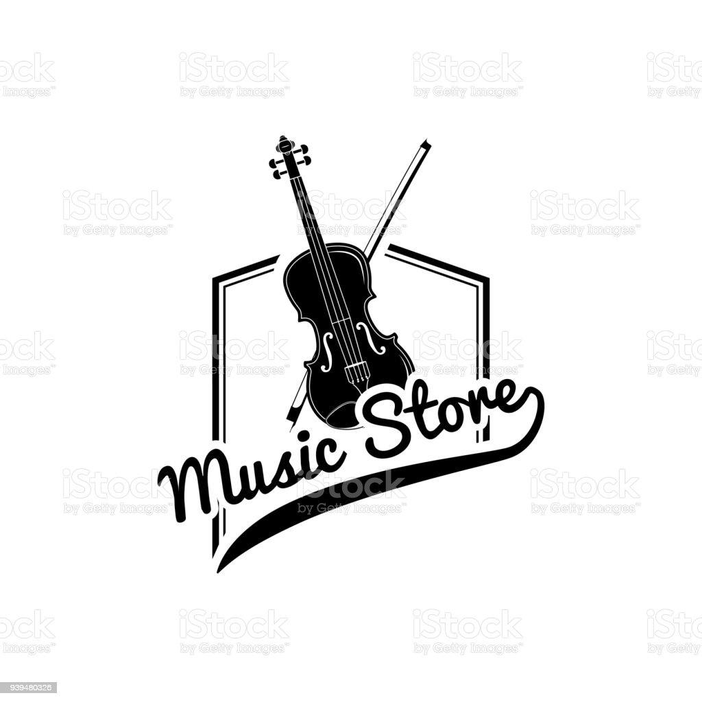 Violin, Bow. Music store design label emble. Musical instrument. Vector. vector art illustration