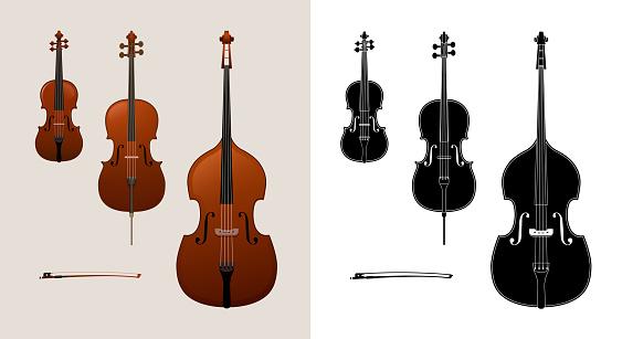 Violin, cello (violoncello) and double bass vector illustration.
