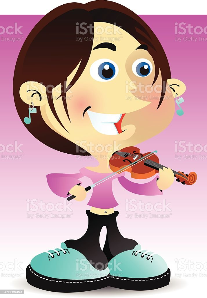 Violin Girl vector art illustration