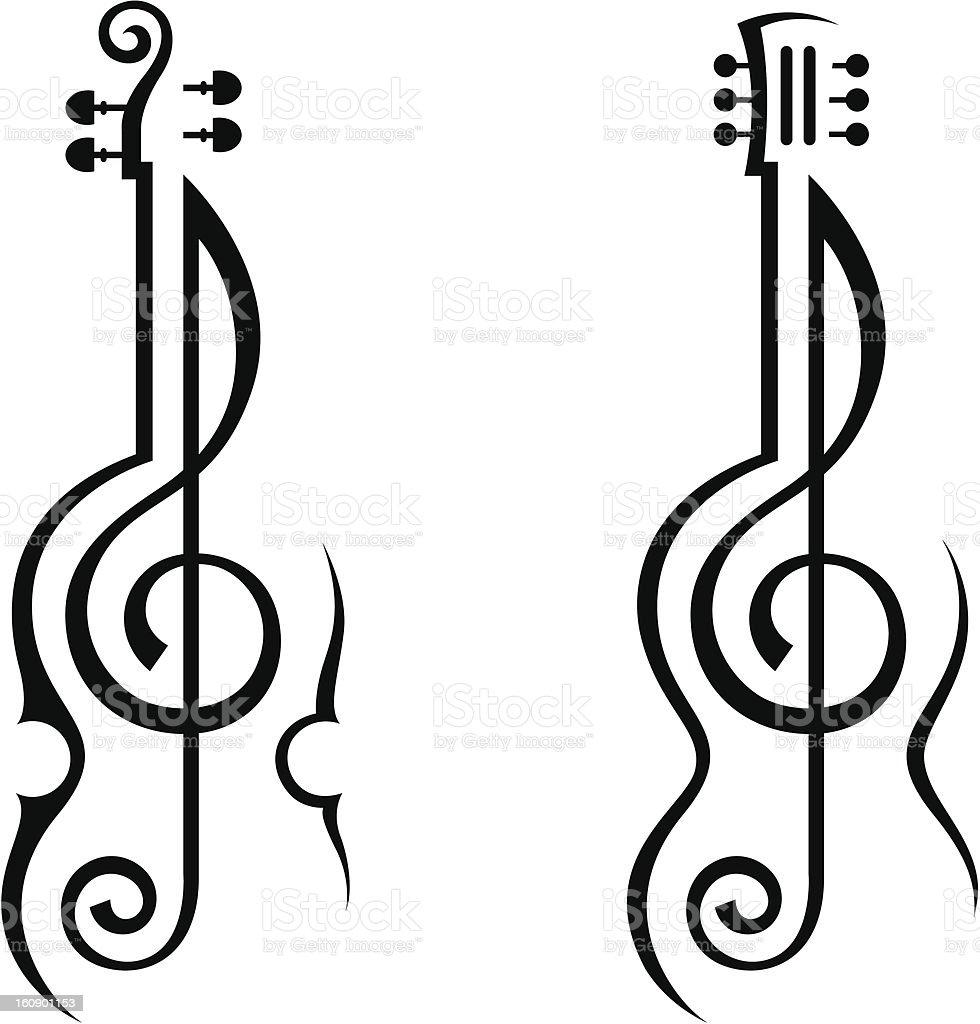 Ilustración De Violín Guitarra Y Clave De Sol Y Más Banco De