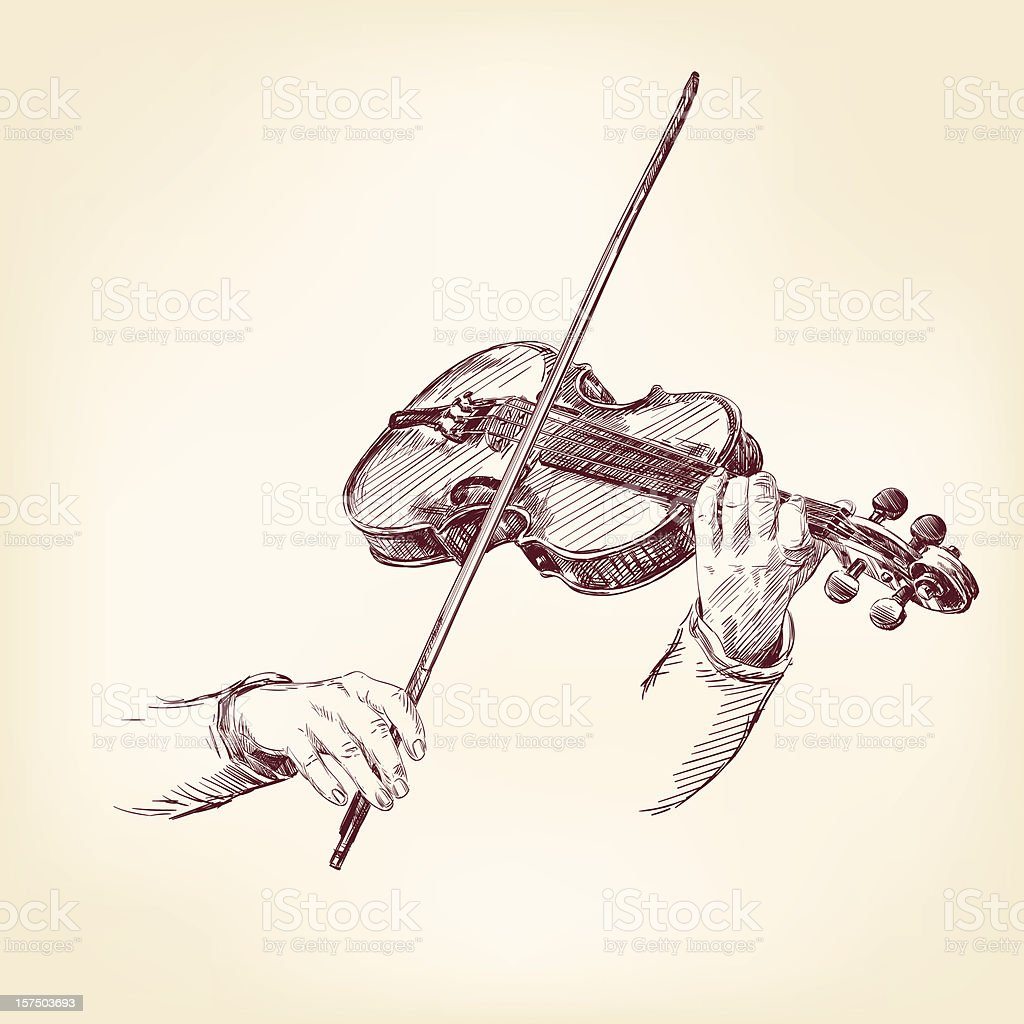 Violin hand drawn vector vector art illustration