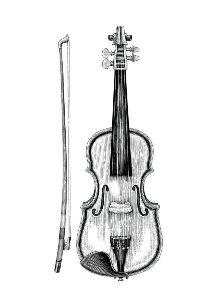 violin hand sketch vintage style - skrzypce stock illustrations